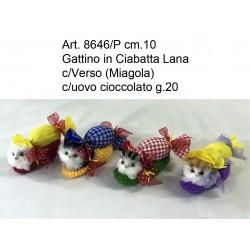 Gattino Pantofola c/Verso cm.8 con Uovo Cioccolata g.20 conf. pz. 4
