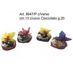 Gattini in cesta c/Verso (Russa) cm.13 con Uovo Cioccolata g.20 conf. pz. 4