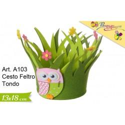 Cestino Feltro Tondo Gufetto cm.13x18 conf. pz. 1