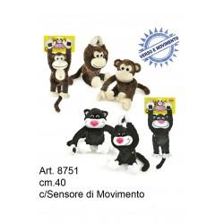 Pel. Scimmia/Gatto Pazzo con Fotocellula Movimento cm.40 conf. pz. 1
