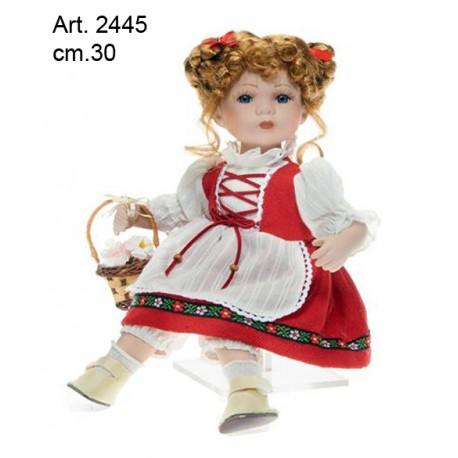 Bambola Seduta Vestito Tirolese Rosso cm.30  conf. pz. 1