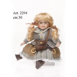Bambola con Vestito Verde a righe cm.30 Seduta