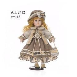 Bambola vestito verde-beige cm.42