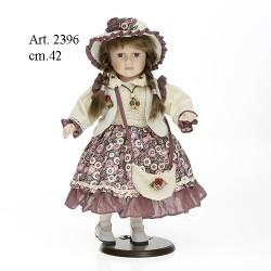 Bambola vestito beige-viola cm.42