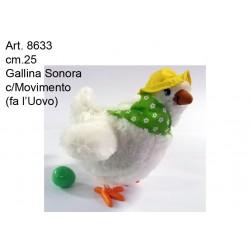 Peluche Gallina che fa Uovo Sonora c/Movimento cm.25
