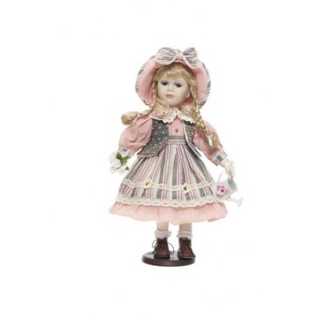 ff83872da7f1 Bambola Porcellana Vestito Rosa c Annaffiatoio cm.42