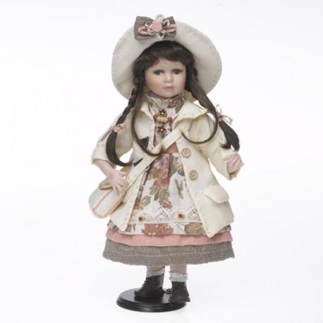 493727dd1d2f Bambola Porcellana Vestito Beige Rosa c Borsetta cm.42 - LUIRÈ